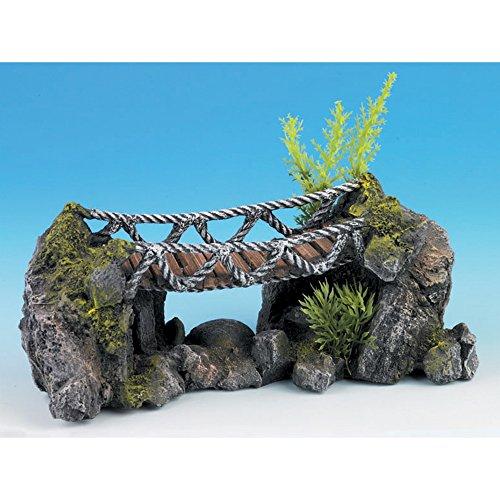 Polyresin Rocky Rope Bridge Aquarium Decoration 25cm