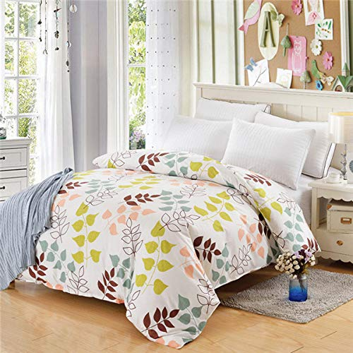 A literary youth Kinderbettwäsche Flanell,Bettbezug aus 100% Polyester Plant & Plaid Reactive Printing Trösterbezug Twin Full Queen King-2_150 cm x 215 cm