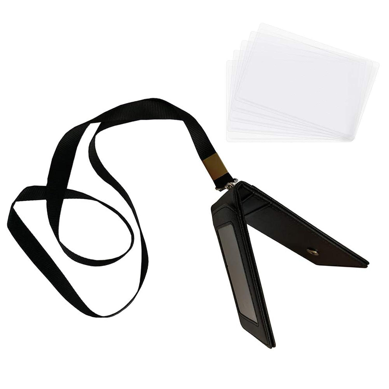 Tyoyoo パスケース 定期入れ カードケース 二つ折り ストラップ付き 透明カード保護ケース5枚付き シンプル メンズ レディース ブラック