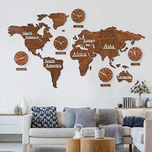 3D Holz Weltkarte mit Uhren Set - Braun Mahagoni 190x120 cm MDF Weltzeituhren Weltuhren Wanduhren Schilder Kontinente Länder Holz Wand Deko Wohnzimmer Wall-Art