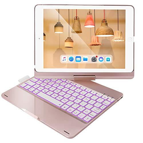 Bosixty ipad Keyboard Case 9.7 for iPad 2018 6th Gen, Compatible for iPad 5th Generation, iPad Pro 9.7, iPad Air 2, iPad Air - 360 Rotation Wireless BT Keyboard with Auto Wake/Sleep(Rose Gold)