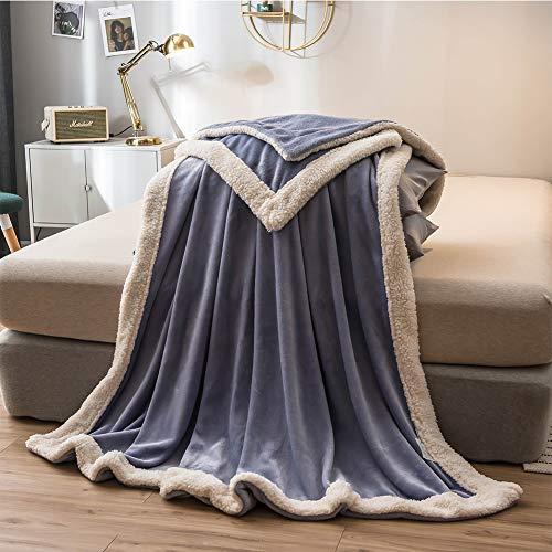 WZHFLY Soft Flanell Decke KüNstliche Lambskin Hemming Design Bett Auskleidungen Warme BettwäSche Geeignet FüR Verschiedene Zwecke,Purple-200 * 230cm