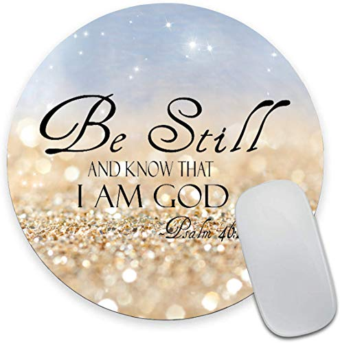 Round Mouse Pad, Christian Bible Verses Mouse Pad, Glitter Gaming Mouse Mat Waterproof Circular Small Mouse Pad Non-Slip Rubber Base MousePads for Office Home Laptop Travel, (Be Still)