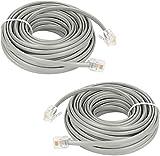 Cable de ExtensiN TelefNico de 15 Pies,Shonco Paquete de 2 Cables de LNea TelefNica Recta,Cable TelefNico Rj11 6p4c,Accesorio Plateado Para TelFono Fijo