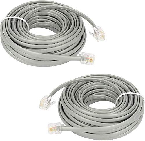 Cable de ExtensióN TelefóNico de 15 Pies,Shonco Paquete de 2 Cables de LíNea TelefóNica Recta,Cable TelefóNico Rj11 6p4c,Accesorio Plateado Para TeléFono Fijo
