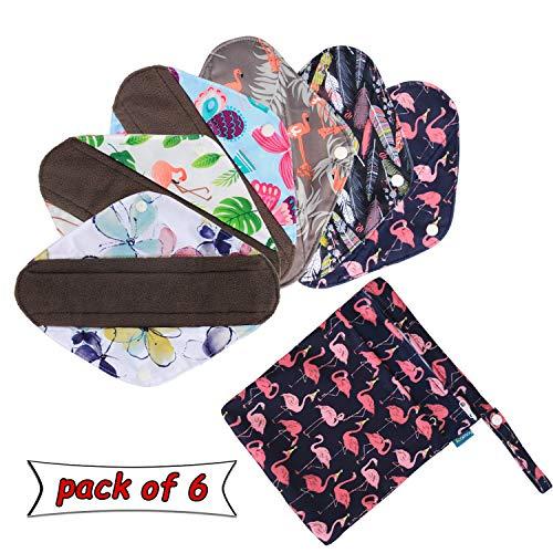 Rameng Prot/ège-slips Lavables Serviettes Hygi/éniques R/éutilisables Pads Menstruel Chiffon D