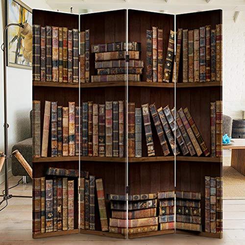 BAKAJI Paravento Separè 4 Pannelli Struttura in Legno Rivestimento in Tela con Stampa Fronte Retro Libreria Antica Divisorio Richiudibile Pieghevole (180x160cm)