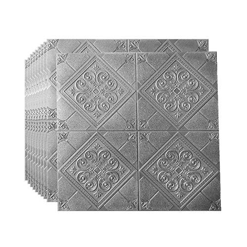 3D Selbstklebend Tapete Schaum Wandaufkleber Wasserfest Wandtattoo Wandpaneele für Schlafzimmer Wohnzimmer Hintergrund TV Decor,70x70cm(Silver gray20pcs)