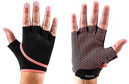 Fitness Mad Unisex's ToeSox Yoga and Pilates Grip Glove, Coral, Small