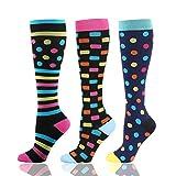 HLTPRO Calcetines de compresión para mujeres y hombres circulación, paquete de 3 calcetines hasta la rodilla para enfermeras, correr, viajes, embarazo, S-M, Morado/azul/amarillo.