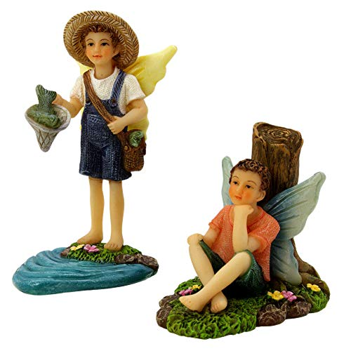 PRETMANNS Fairy Garden Fairies Accessories - Fishing Buddies Fairy Set - Miniature Boy Fairy Garden Accessories 2 Piece Kit