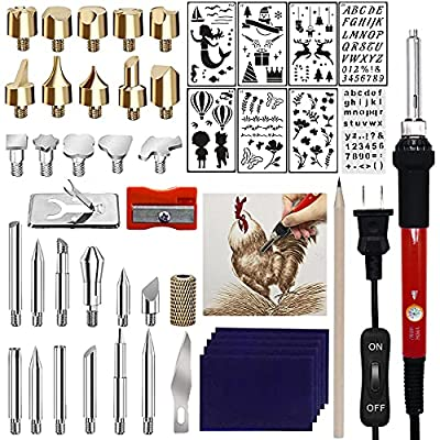 Wood Burning Kit for Beginners, 50PCS Professional Wood Burning Pen and Accessories Wooden Kits Embossing Carving and Wood Burning