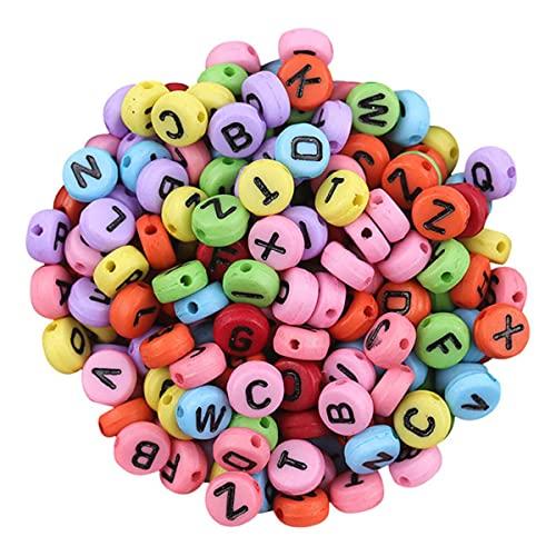 Cuentas Pulsera DIY Alfabeto Letra Collar hecho a mano Cuentas para hacer joyas Trabajo hecho a mano Pendiente de bricolaje Decoración multicolor-ESPAÑA, D