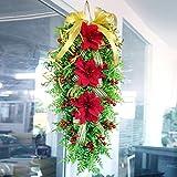 BYHUACN Guirnalda colgante artificial, corona de guirnaldas de Navidad, adorno de flores realistas para decoración del hogar