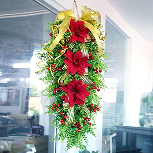 BYHUACN Artificial Hanging Garland,Christmas Ornament Swag Wreath,Realistic Flower Door Swag for Home Decor