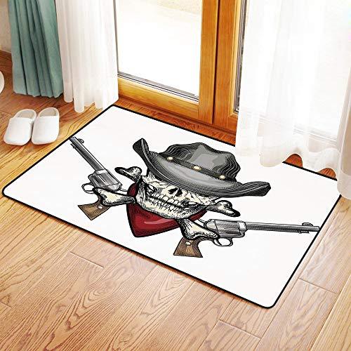 Yaoni Rutschfester Badvorleger, Schädel, Illustration eines coolen Schädel-Cowboys mit Hut und Gewehren Wild West Symbo,Mikrofaser Duschvorleger Teppich für Badezimmer Küche Wohnzimmer 50x80 cm