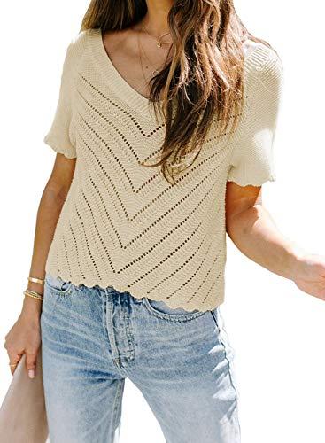 Blusa casual de verano con cuello redondo para mujer, de manga corta, holgada, cuello en V, blusa de moda, túnica de color sólido