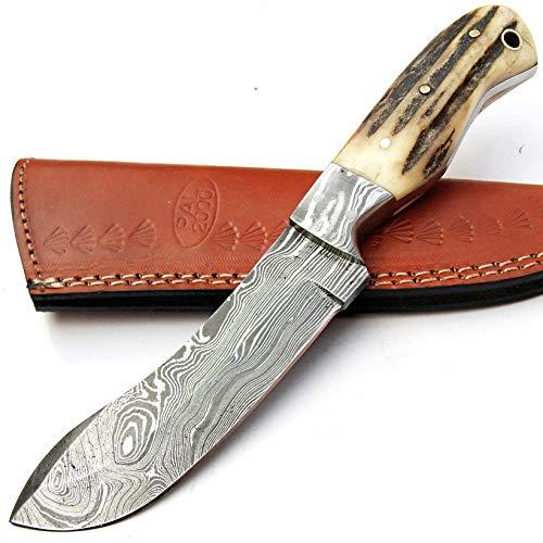 SGMB-9384 - Cuchillo de damasco hecho a mano con hoja de Damasco de 21 cm con funda de piel, para cocinero, camping, cocina, barra de acero de damasco