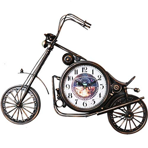 Motorrad Wanduhr, Schmiedeeisen Vintage Home Dekoration Uhr, geeignet für Wohnzimmer, Esszimmer, Bar (74 × 56 cm)