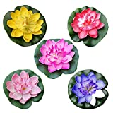 Lotus artificial,loto falso y Flores flotantes,5 piezas de Flores artificiales flotantes de agua lirio Eva Lotus Flower Estanque Decoración de 10 cm (rojo/amarillo/azul/rosa/rosa claro)