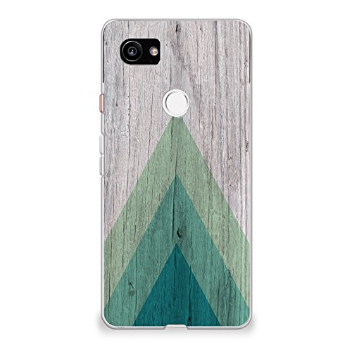 """CasesByLorraine Compatible with Google Pixel 2 XL Case, Wood Print Geometric Triangle Pattern Flexible TPU Soft Gel Protective Cover for Google Pixel 2 XL 6.0"""" (2017)"""
