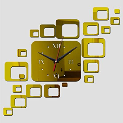 Shuangklei Home Decoration Acrylic Mirror Wall Clock Modern Design Large Digital Quartz Watch Sticker
