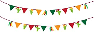 CC HOME 2PCS Festival Mexicano long Colorful Paper Mexican Fiesta Birthday Banner, Multi-Colored Chili Cactus Bunting Garland String Flags for Mexican Fiesta Party,Wedding,Birthday Party,Baby Shower, Cinco De Mayo Decorations