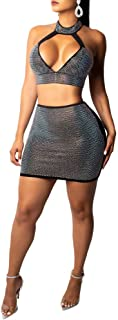 Women's 2 Pieces Outfit Hollow Out Beading Pearl Spaghetti Strap Crop Top +Midi Skirt