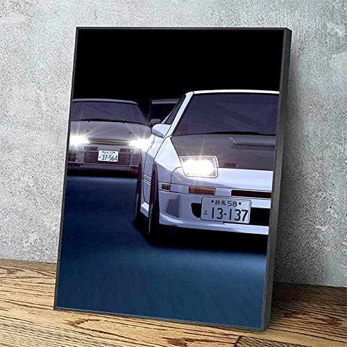 Lienzo Impreso Cartel Moderno Vista del hogar Coche Blanco Pintura Decorativa Lámpara de Anime Cuadro de Arte de Pared Sala de Estar Modular / 60x80cm (sin Marco)