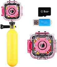 Kids Camera, iMoway Waterproof Video Cameras for Kids HD 1080P Kids Digital Cameras Camcorder with 16GB Memory Card, Card Reader and Floating Hand Grip (Pink)
