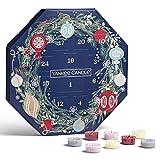 YANKEE CANDLE calendario dell'avvento Ghirlanda, Confezione regalo con candele profumate natalizie, 24 candele tea light e 1 porta candela tea light, Collezione Countdown to Christmas
