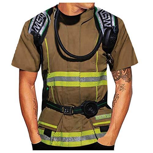 Yowablo T-Shirt Herren Casual 3D Feuerwehrmann Stil Digital Geometric Print Kurzarm (5XL,3Khaki)