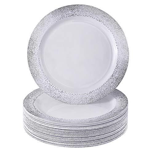 Silver Spoons Vajilla para Fiestas Desechable de 20 Piezas | 20 Platos para Postre | Platos de Plástico Resistente...