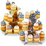 Juvale 3-Tier Dessert Cupcake Treat Stand Party Tower (2 Pack) Gold and Silver