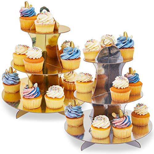 Lot de 2 présentoirs à cupcakes en carton à 3 étages, décoration pour fêtes prénatales, mariages, anniversaires, couleur or et argent, 30 x 34 x 30 cm