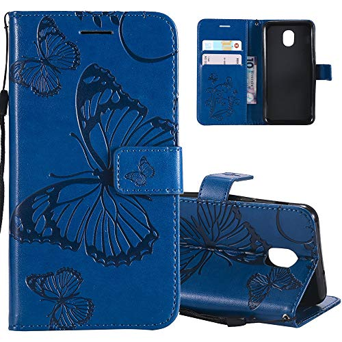 HMTECHUS Case for J3 2018 Elegant Embossed Butterfly Card Slots Bookstyle Wallet PU Leather Magnetic Closure Flip Kickstand Shockproof Compatible Samsung Galaxy J3 2018 Big Butterfly Blue KT