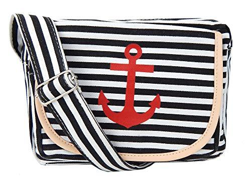 Ella Jonte Tasche Anker Streifen blau oder schwarz Rockabilly maritim Handtasche