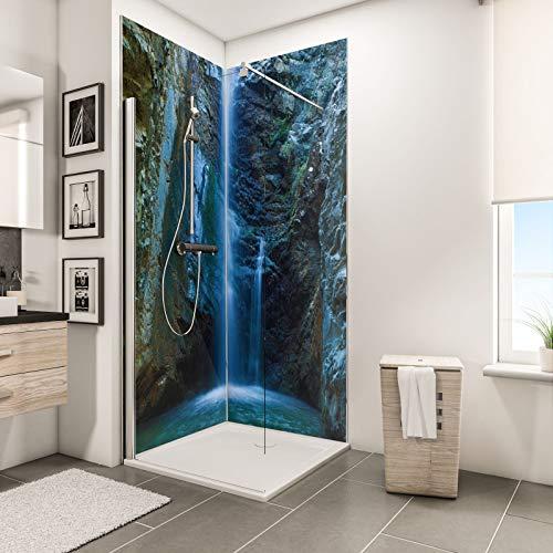 Schulte Duschrückwand Set über Eck, Chantara Wasserfall, 2 x 90x210 cm, Wandverkleidung aus 3 mm Aluminium-Verbundplatte als fugenloser Fliesenersatz