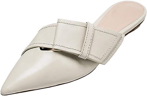 Sandalias De Tacón Grueso zapatos Solos De Moda zapatos De Noche Sandalias De Tacón Medio para mujer Medio Arrastre para mujer Sandalias Puntiagudas (Color   Milky blanco, Talla   38 US7.5)