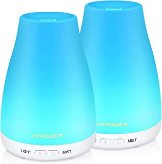 URPOWER Essential Oil Diffuser, 2 Pack Aromatherapy Diffuser for Essential Oils Portable Cool Mist Humidifier with Adjustable Mist Mode 7 Colors LED Lights and Waterless Auto Shut-Off for Home Office