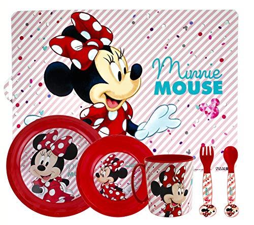 ML Set de Vajilla Infantil para niño y niña. 6 Piezas: Plato, Taza, Cubiertos, Vaso y Mantel con diseño de Disney (roja)