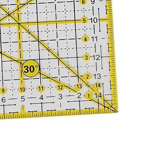 Reglas cuadradas para acolchar, regla de corte de tela, reglas para acolchados acrílicos, regla de dibujo transparente para costura de oficina y escuela