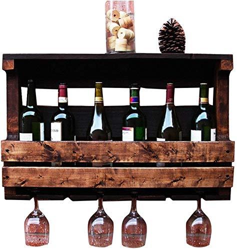 Elegante Botellero, Retro de la pared de la vendimia del vino montado en bastidor de madera 6 de tallo largo Titular de vidrio y corcho del vino de almacenamiento de cajas organizador de aplicaciones