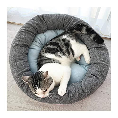 Cuccia per gatti rotonda, 55 cm, cucciolo per cravatte, cuscino per cani, divano per cani caldo e lavabile, letto per piccoli cuccioli di cane e neonati animali domestici grigio