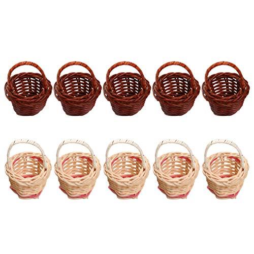 TOYANDONA - Lote de 10 cestas en miniatura con asas, mini cestas, accesorios de fotografía para paisajes, decoración en casa (café y blanco, 5 unidades para cada uno)