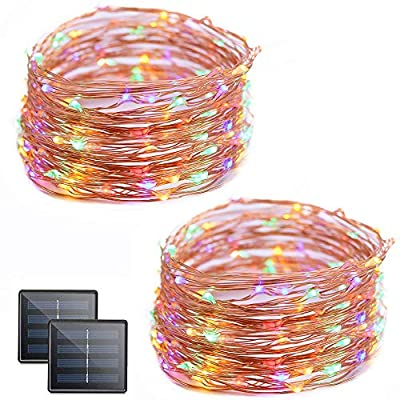 Vmanoo Fairy Lights 100 LED Cooper Solar String Lights