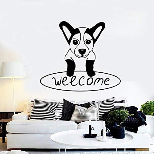 Texto de bienvenida calcomanía de pared perro cachorro tienda de mascotas dulce decoración del hogar vinilo adhesivo para ventana lindo animal mural