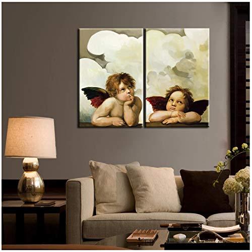 cuadros decoracion salon Póster de aceite con estampado de ángel estado pensando en HD para arte de pared de habitación de niños para decoración de sala de estar Cuadros 23.6x31.5in (60x80cm) x2pcs S