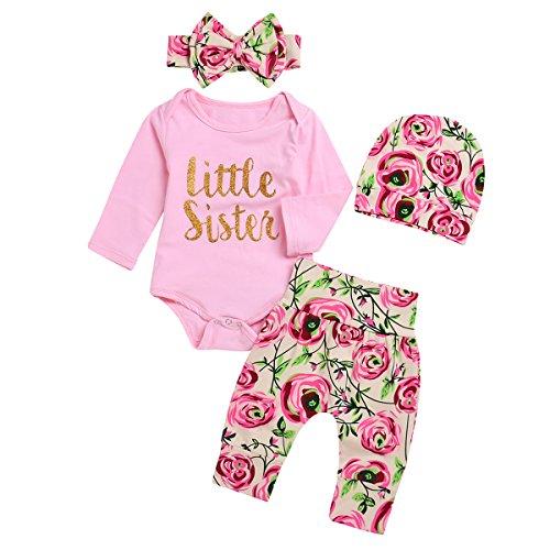 4 sztuk Baby Girl Little Sister Rose Flower Stroje Romper + spodnie + opaska + czapka (3-6 M, różowy)