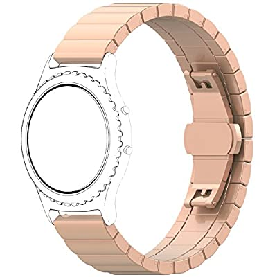 TopTen for Samsung Galaxy Watch, Stainless Steel Replacement Accessory Strap Bracelet Wrist Band for Samsung Galaxy Watch Fitness Smart Watch (42MM, Rose Gold)
